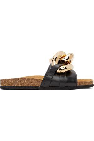 J.W.Anderson Men Loafers - Black Chain Loafer Slides