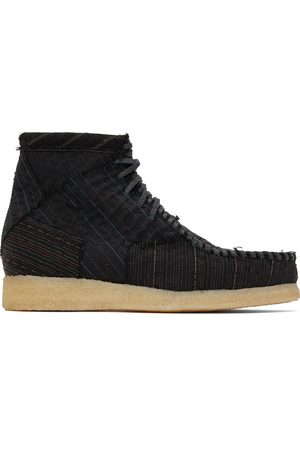 BY WALID Men Lace-up Boots - Embroidered Wool Anka Desert Boots