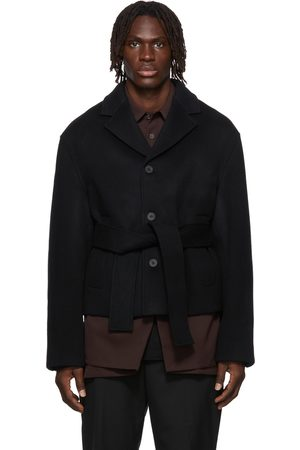 WOOYOUNGMI Men Blazers - Belted Cropped Jacket