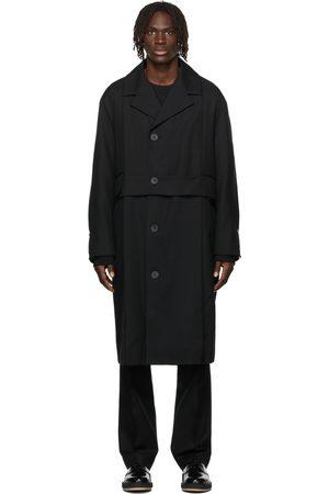 WOOYOUNGMI Men Blazers - Belted Turn-Up Long Coat