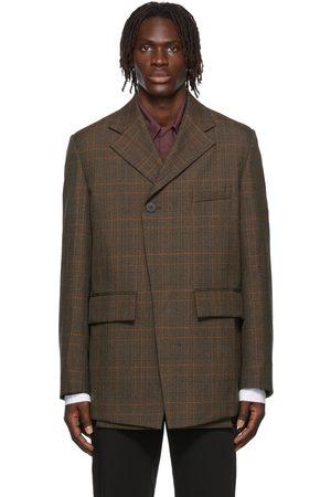 WOOYOUNGMI Check Folded Wool Blazer