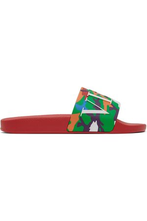 VALENTINO GARAVANI Men Sandals - Red & Multicolor Camo 'VLTN' Slides