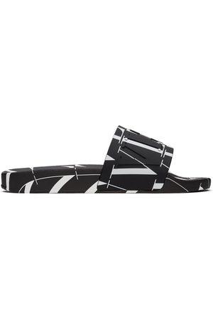VALENTINO GARAVANI Men Sandals - Black & White 'VLTN' All Over Slides