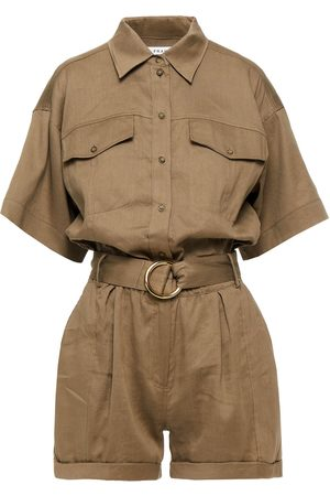 Frame Woman Arie Belted Woven Playsuit Taupe Size L