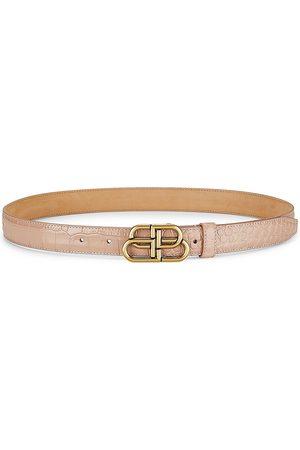 Balenciaga Women Belts - BB Thin Crocodile-Embossed Leather Belt