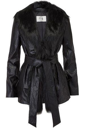 Marei Women Leather Jackets - 1998 Powderpuff Vegan Ostrich & Faux Fur Coat