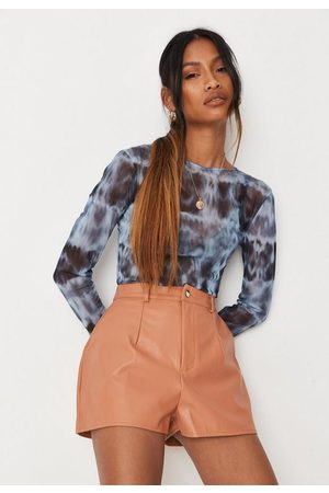 Missguided Women Shorts - Peach Faux Leather Button Front Shorts