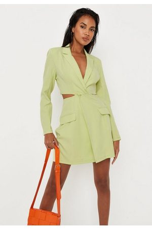 Missguided Women Blazers - Lime Twist Front Cut Out Blazer Dress