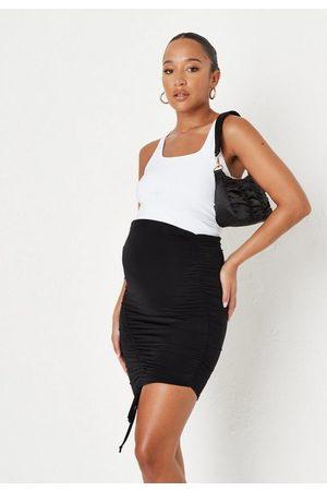 Missguided Women Midi Skirts - Slinky Asymmetric Ruched Maternity Midi Skirt