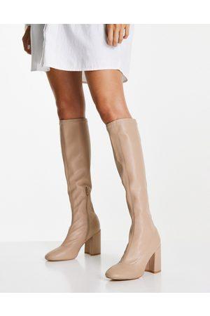 London Rebel Knee high sock boots in -Neutral
