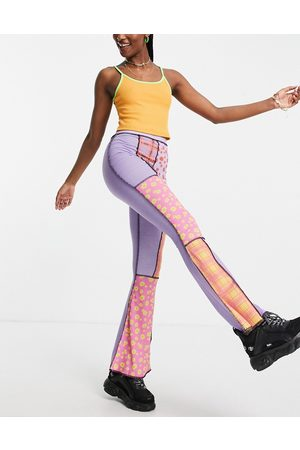 The Ragged Priest Women Leggings - Flare pants in patchwork floral check - part of a set-Multi