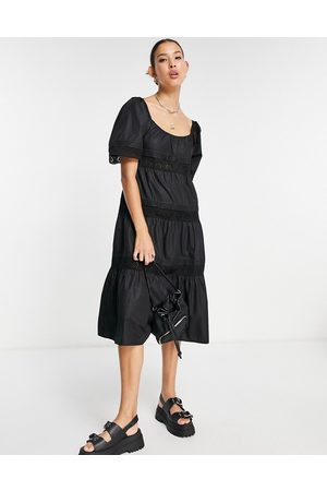 Emory Park Midi smock dress with tiered broderie trim skirt