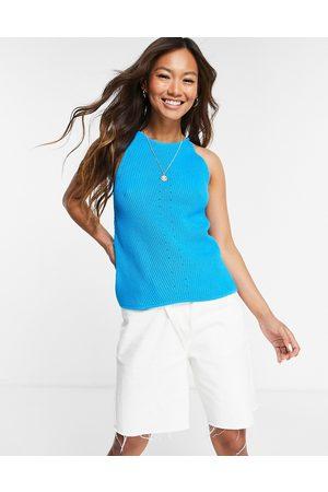 SELECTED Women Tank Tops - Femme knit racer high neck top in blue-Blues