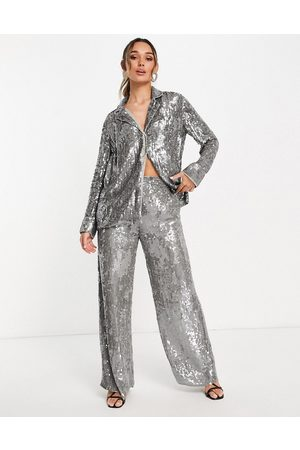 ASOS Women Pajamas - Sequin pajama shirt in -Grey