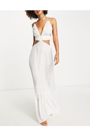 ASOS Women Maxi Dresses - Jacquard cut out ruched beach maxi dress in ivory