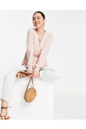 VERO MODA Aware peplum wrap blouse in