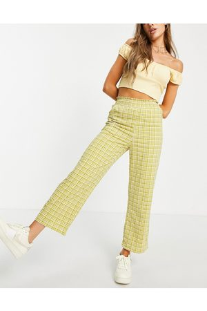 Emory Park Vintage fit pants with shirred waist in check