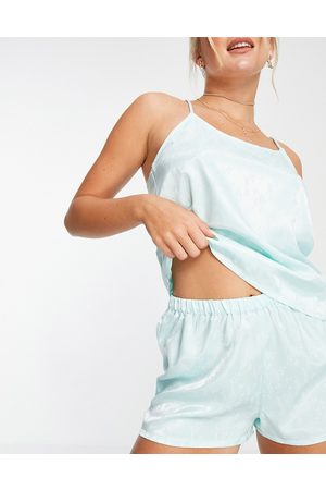 VERO MODA Women Pajamas - Satin cami top and shorts pajama set in mint ditsy floral