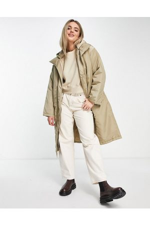 ASOS Women Parkas - Quilted double layer parka coat in stone