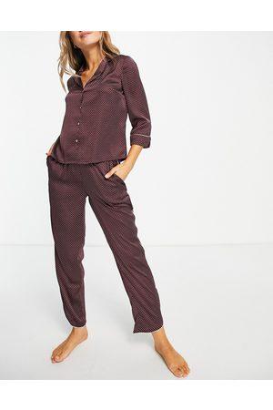 VERO MODA Women Pajamas - Satin piped pajama set in burgundy spot