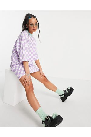 The Ragged Priest Oversized t-shirt dress in lilac checkerboard