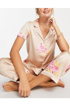 VERO MODA Satin shirt and panst pajama set in blush floral-Multi