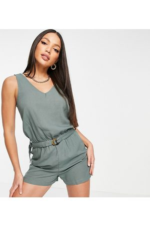 VERO MODA Women T-shirts - Linen romper with belted waist in khaki