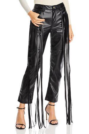 HELLESSY Women Leather Pants - Allie Fringe Faux Leather Straight Leg Pants