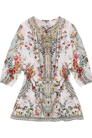Camilla Printed cotton shirred waist dress