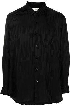 Saint Laurent Men Long sleeves - Contrast-stripe fluid long-sleeve shirt