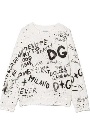 Dolce & Gabbana Boys Hoodies - Graffiti print crew neck sweatshirt