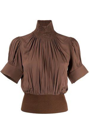 Nº21 Smocked-detail high-neck blouse