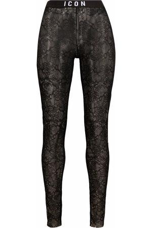 Dsquared2 Icon logo-waist lace leggings