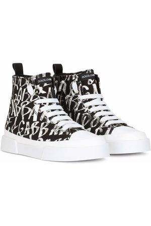 Dolce & Gabbana High-top graffiti-print sneakers
