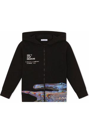 Dolce & Gabbana Boys Hoodies - Don't Stop Dreaming zipped hoodie