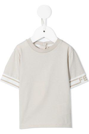Fendi Sweatshirts - Logo-trim crewneck T-shirt - Neutrals