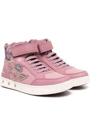Geox Girls Sneakers - Embroidered high-top sneakers