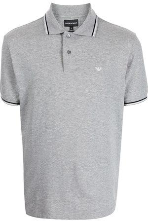 Emporio Armani Men Polo Shirts - Logo-embroidered cotton polo shirt - Grey