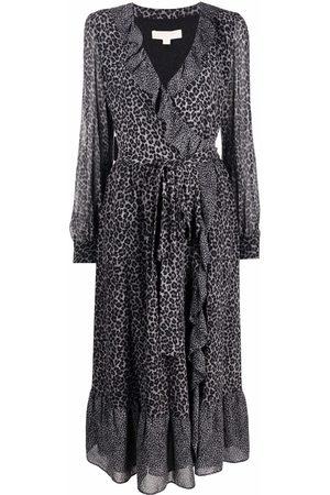 Michael Kors Leopard georgette wrap dress - Grey