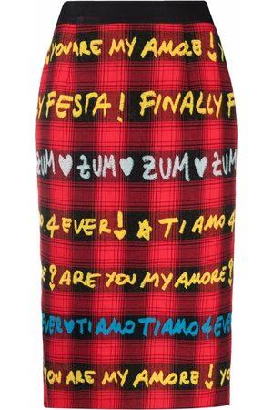 ALESSANDRO ENRIQUEZ Tartan-print cotton pencil skirt