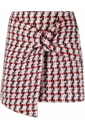AMEN Tweed-wrap skirt