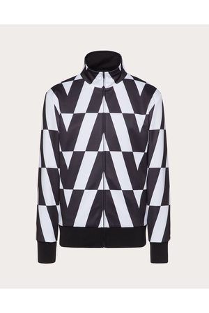 VALENTINO Men Sweatshirts - Technical Cotton Sweatshirt With Zipper And Macro Optical Valentino Print Man Ivory/ 100% Polyester L