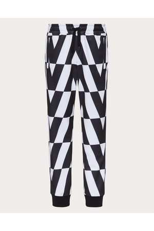 VALENTINO Men Pants - Technical Cotton Pants With Macro Optical Valentino Print Man Ivory/ 100% Polyester L