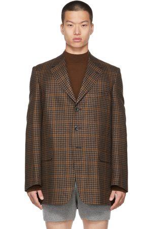 DRIES VAN NOTEN Brown Wool Tweed Check Blazer