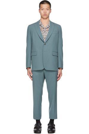 DRIES VAN NOTEN Blue Wool Gabardine Suit