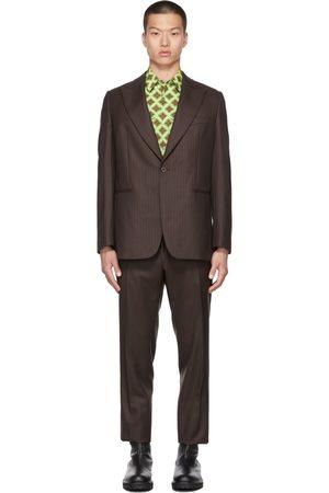 DRIES VAN NOTEN Brown Wool Pinstripe Suit