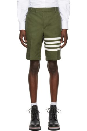 Thom Browne Green Washed Canvas 4-Bar Unconstructed Chino Shorts