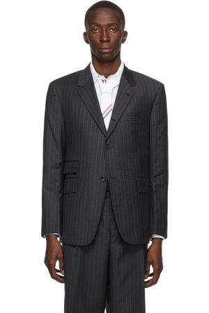 Thom Browne Grey Wool Pinstripe Single Vent Sport Coat Blazer