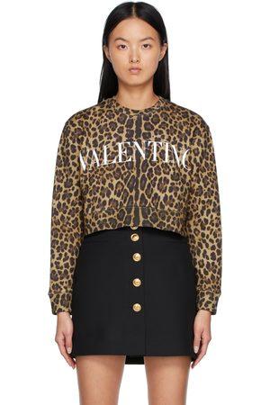 VALENTINO Beige & Black Leopard Logo Sweatshirt