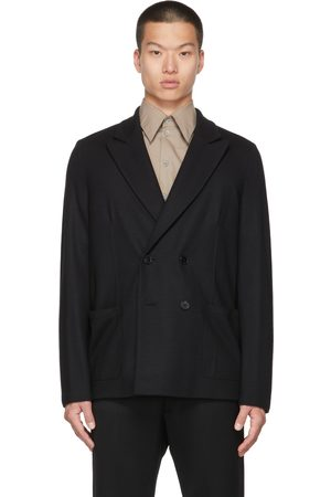 Harris Wharf London Men Blazers - Black Wool Double-Breasted Blazer